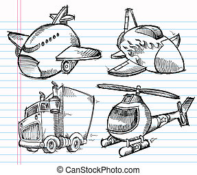 lindo, bosquejo, transporte, garabato