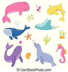 lindo, brillante, conjunto, marina, animals.