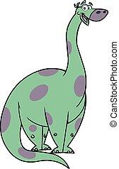 lindo, brontosaurio, caricatura