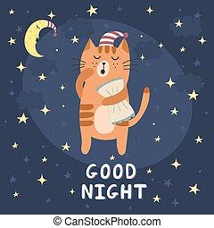 lindo, bueno, soñoliento, gato, noche, tarjeta