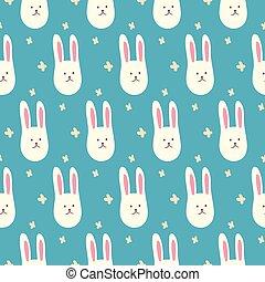 lindo, bunnies., seamless, patrón