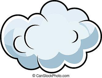 lindo, cómico, vector, caricatura, nube