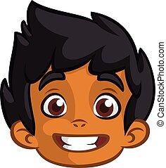 lindo, cabeza, indio, niño, cartoon., contorneado, expression., afroamericano, vector, pequeño, sonriente, icono