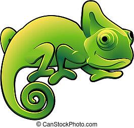 lindo, camaleón, ilustración, vector