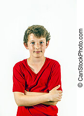 lindo, camisa, niño, postura, lesure, rojo, feliz