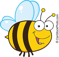 lindo, carácter, caricatura, abeja