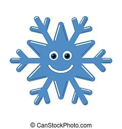 lindo, carácter, nieve, sonrisa, azul, invierno, face., escama, aislado, fondo., blanco, feriado, copo de nieve, feliz, smiley, ilustración, niño, bebé, caricatura, niño, doodle., decoration., vector, diversión, dibujo, emoticon.