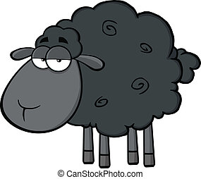 lindo, carácter, sheep, negro