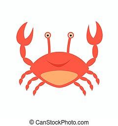 lindo, carácter, vector, cangrejo, sonreír feliz