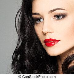 lindo, cara femenina, con, maquillaje de la etapa, smokey,...
