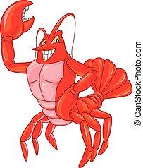 lindo, caricatura, cangrejo