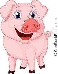 lindo, caricatura, cerdo