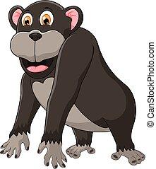 lindo, caricatura, chimpancé