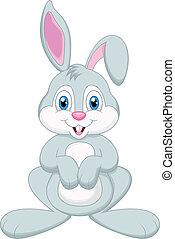 lindo, caricatura, conejo