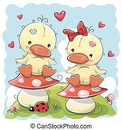 lindo, caricatura, dos, patos