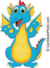 lindo, caricatura, dragón