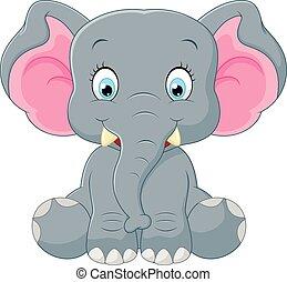 lindo, caricatura, elefante