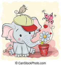 lindo, caricatura, elefante, con, flor
