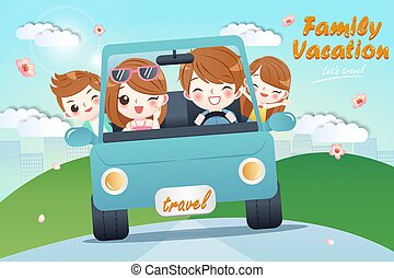lindo, caricatura, familia feliz