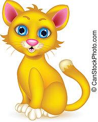 lindo, caricatura, gato