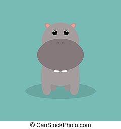 lindo, caricatura, hipopótamo