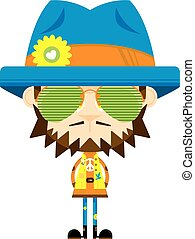 lindo, caricatura, hippie, en, sombras, y, sombrero