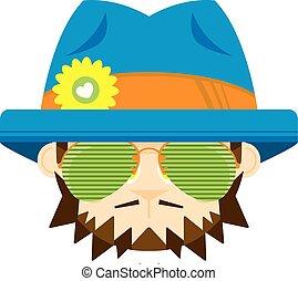 lindo, caricatura, hippie, en, sombrero