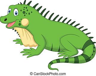 lindo, caricatura, iguana