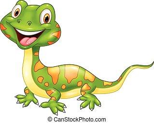 lindo, caricatura, lizard.