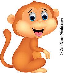 lindo, caricatura, mono, sentado