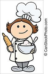 lindo, caricatura, niña, en, chef, disfraz