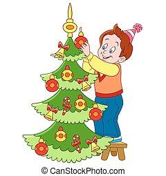 lindo, caricatura, niño, y, árbol de navidad