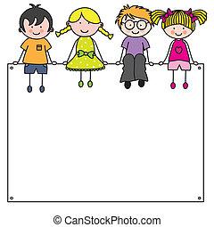 lindo, caricatura, niños, marco