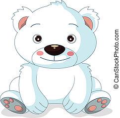 lindo, caricatura, oso, polar