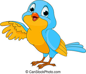 lindo, caricatura, pájaro