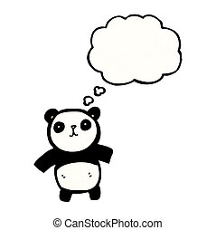 lindo, caricatura, panda