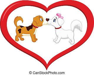 lindo, caricatura, perro, besar, uno al otro