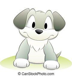 lindo, caricatura, perro