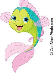 lindo, caricatura, pez