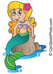 lindo, caricatura, sirena
