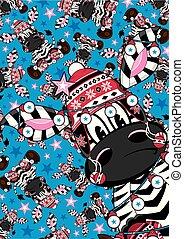 lindo, caricatura, sombrero de error, zebra, patrón