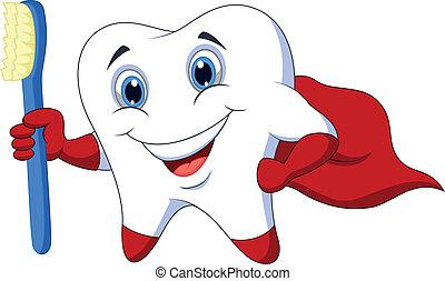 lindo, caricatura, superhero, t, diente