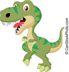 lindo, caricatura, tyrannosaurus