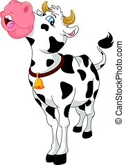 lindo, caricatura, vaca