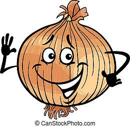 lindo, cebolla, vegetal, caricatura, ilustración