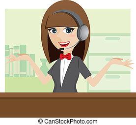 lindo, centro, auricular, llamada, utilizar, caricatura