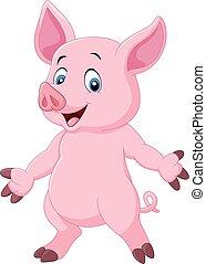 lindo, cerdo, caricatura, posar
