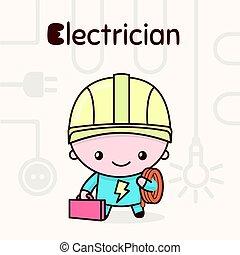 lindo, chibi, kawaii, characters., alfabeto, professions., letra e, -, electricista