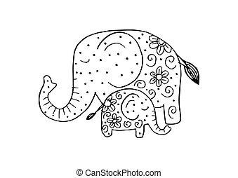lindo, child., caricatura, mamá, elefante