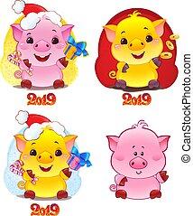 lindo, chino, símbolo, terroso, amarillo, cerdo, horoscope.,...